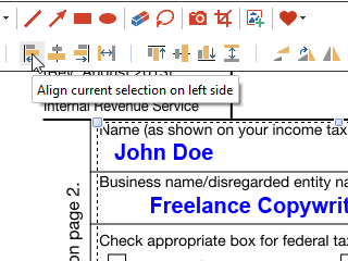 Select annotations to align