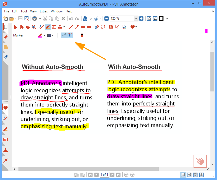 Auto Smooth: PDF Annotator's intelligent logic recognizes attempts to draw straight lines, and turns them into perfectly straight lines. Especially useful for underlining, striking out, or emphasizing text manually.