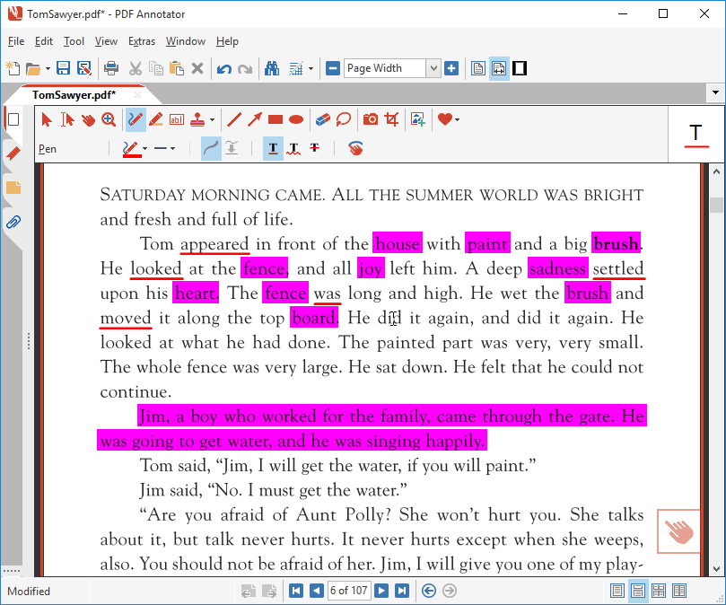Underline text in a PDF with Auto-Snap