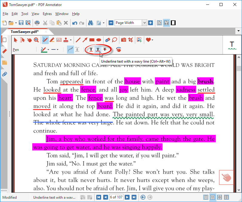 Underline text with wavy lines or strike out text in a PDF with Auto-Snap