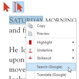 Sélection d'actions sur le texte