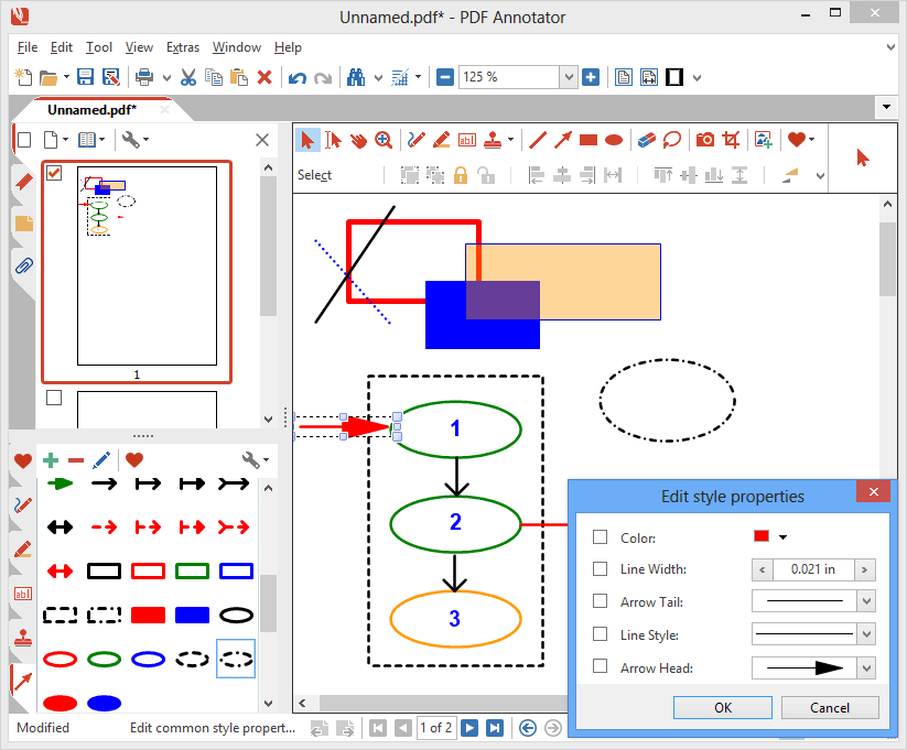 Arrow, Line, Rectangle & Circle Tools: Place arrows, draw lines, rectangles or circles to highlight important stuff on your document - or even to create small schematic drawings.