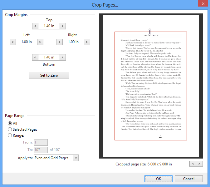 Crop Pages: Reduce the page size to get rid of borders, white space or margins you previously added for mark-up.