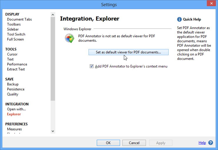 PDF Default Viewer: Set PDF Annotator to be your default viewer for PDF documents.