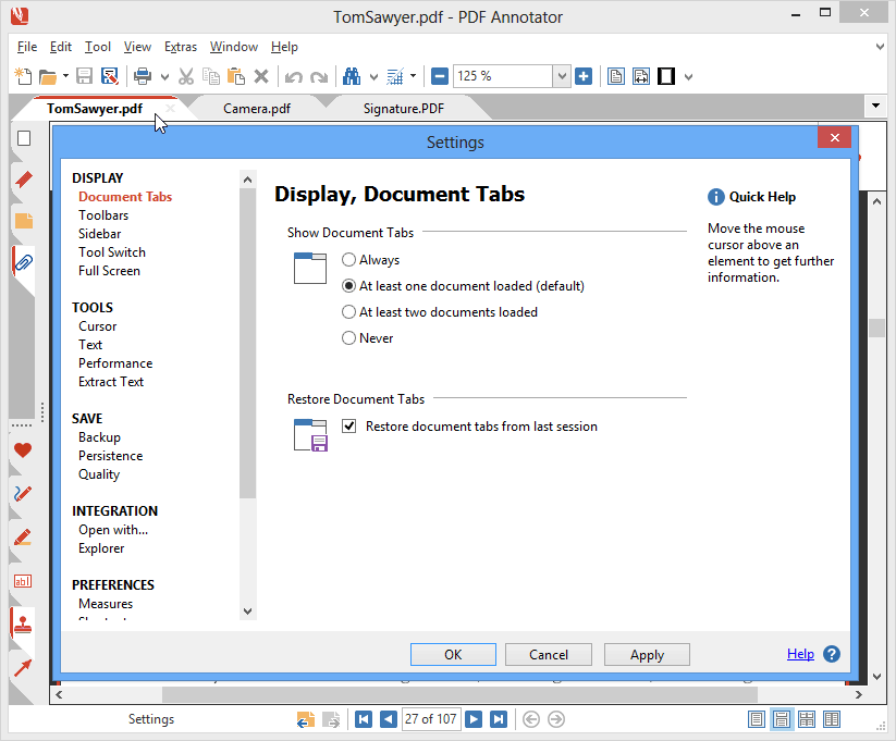Open Multiple Documents in Tabs: Work on multiple files simultaneously using a widely established tab interface. Quickly switch between your documents by clicking from tab to tab. Super helpful: PDF Annotator remembers the documents you worked on in your last session, and restores the tabs on the next start.