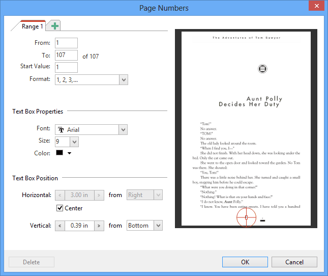 Page Numbers: Add page numbers to PDF documents. Pick the numbering scheme, format and positioning you prefer. Even supports multiple page number ranges. Page numbers of course automatically update when you add or delete pages from the PDF document in PDF Annotator.