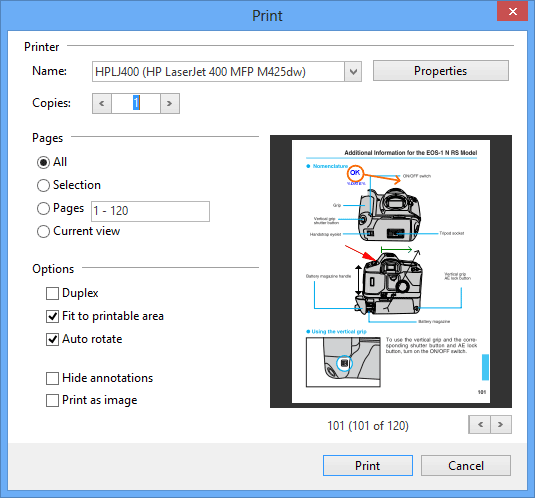 Print PDF: Printing made easy with PDF Annotator. Print your documents with or without your annotations. Avoid unnecessary print-outs with the built in print preview.
