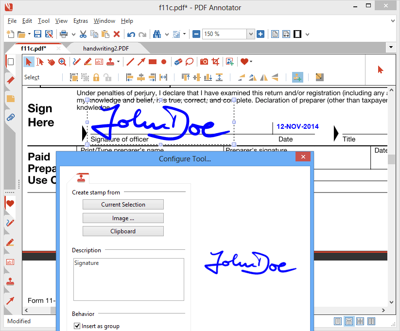 Sign PDF Documents: Sign documents on your tablet! Place your signature anywhere on the PDF. Save the PDF and send it back - no more printing, signing and scanning or faxing back of paperwork! You're on the road with no printer or fax machine access? Simply use PDF Annotator to sign and send back documents.