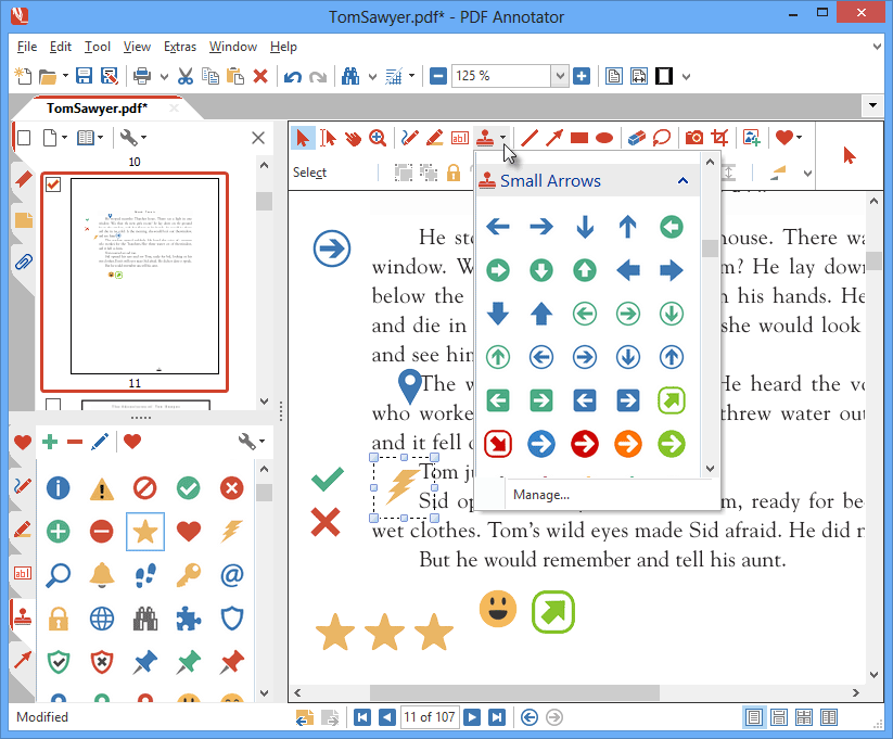 Symbol Stamps: Choose between a wide range of modern icons and symbols: PDF Annotator comes with more than 330 predefined stamps.