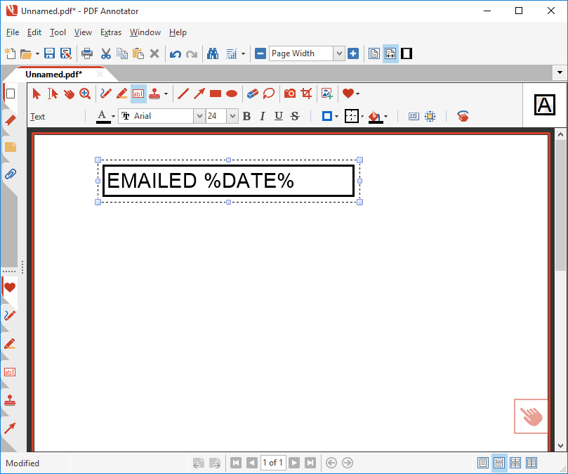 Create the date stamp containing a placeholder