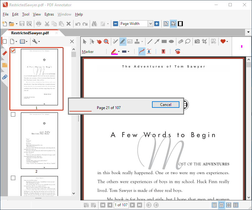 Creating a digital copy of the restricted PDF