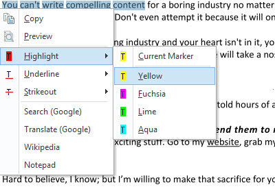 Select Text Tool context menu