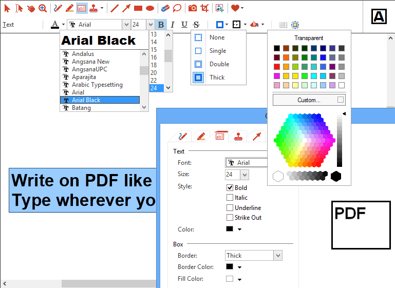 Text Tool Options: All tools support various style properties, like different colors, borders, fonts and widths.