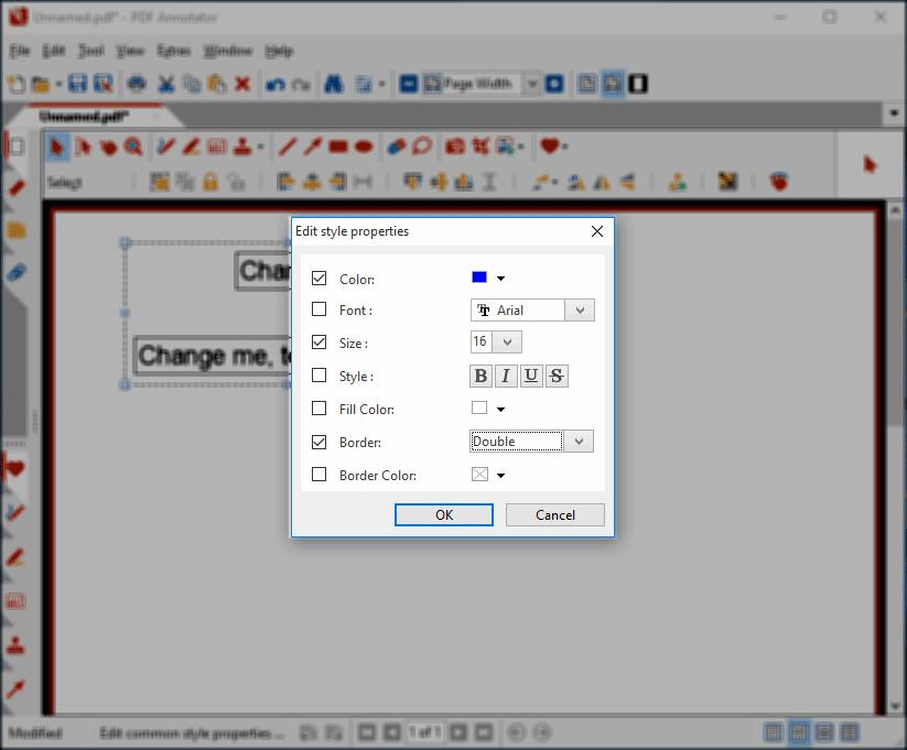 Edit text box styles