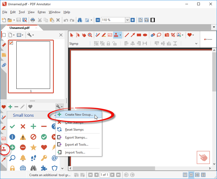 Open stamp toolbox and create a new tool group