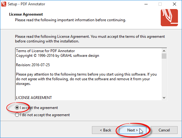 Confirm license agreement