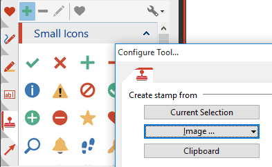 Stamps: Re-use symbols, drawings, images or text boxes and use them as stamps.