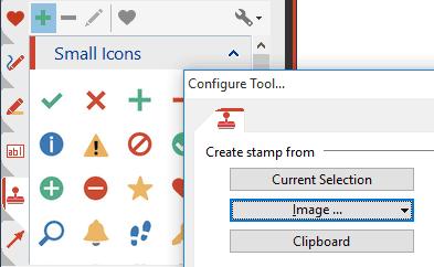 Tampons: Vous pouvez stocker les icônes/symboles, dessins, graphiques ou boîtes de texte en qualité de tampons afin de pouvoir les réutiliser.