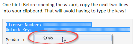 Copy license information into clipboard