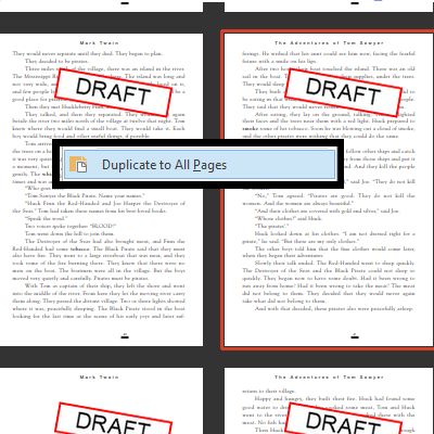 Duplicate Stamps / Stamp All Pages: Duplicate any markup (stamps, text boxes, handwritten comments) to all pages. Stamp all pages of a PDF document. Transfer a single markup to all pages.