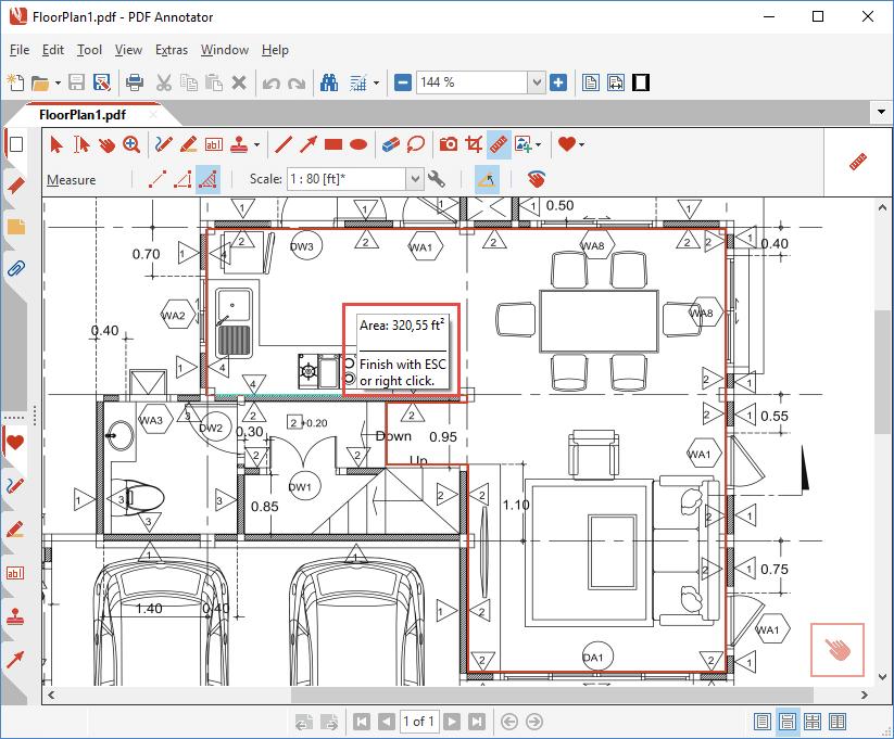 Measured area