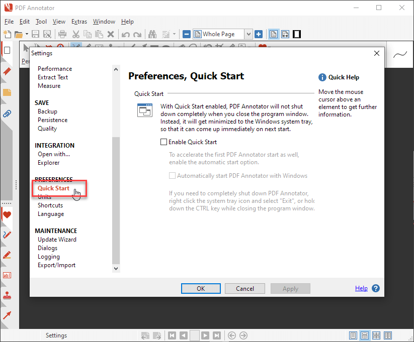Preferences, Quick Start
