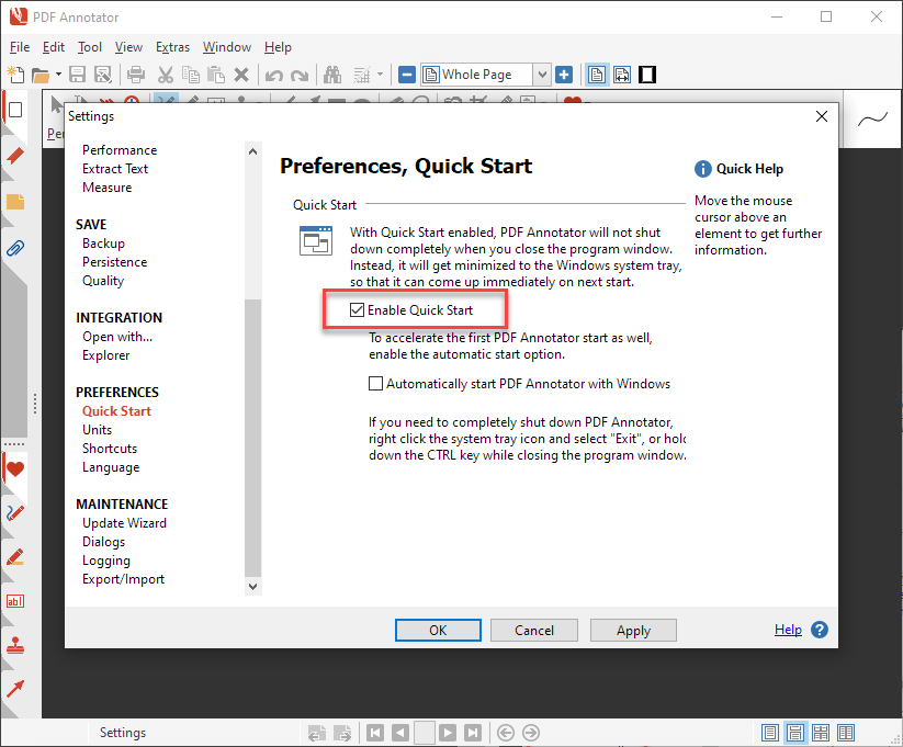 Enable Quick Start