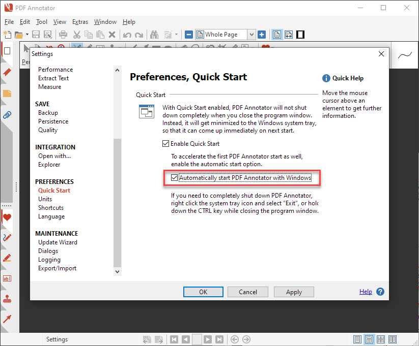 Automatically start PDF Annotator with Windows