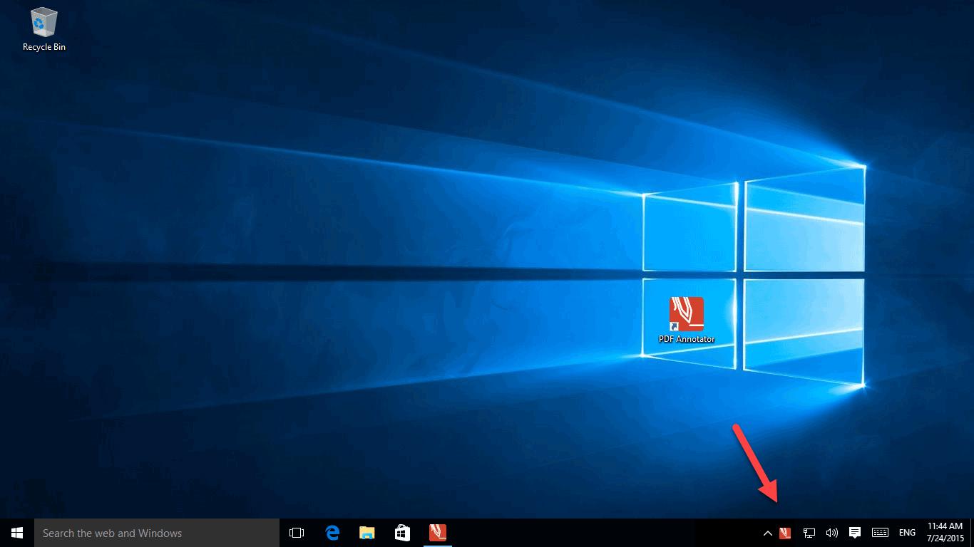 PDF Annotator waiting in task bar notification area