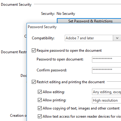 Password Protect PDF: Set passwords and restrictions for your PDFs. Require an