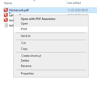 Commande «Imprimer» sur les menus de l'explorateur