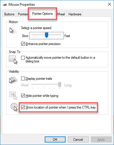 Mouse Properties: Pointer Options