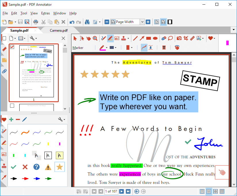 Comment and Markup: Annotations can be added using the pen in almost any color and different pen widths. Simply write your comments directly into the document!