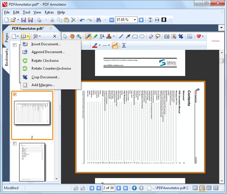 Tourner des pages: Tournez des pages ou des documents entiers.