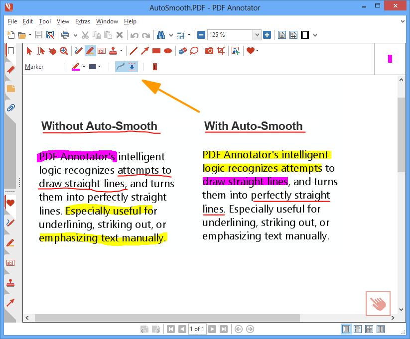 Lissage automatique: La logique intelligente de PDF Annotator reconnaît les tentatives de tracés de lignes droite, et les transforme en lignes parfaitement droites. Particulièrement utile pour souligner, barrer ou mettre l'accent manuellement sur du texte.
