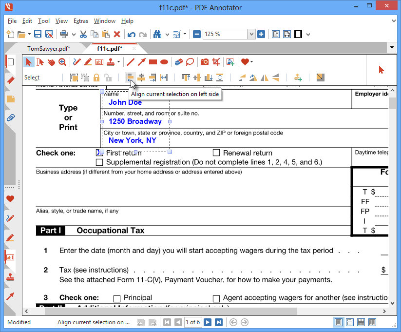 Aligner des annotations: Délivrez des mises en page propres en alignant vos annotations à l'aide des outils d'alignement puissants de PDF Annotator. Alignez à gauche les saisies de formulaire pour des présentations claires et professionnelles, veillez à ce que les espacements soient identiques entre les zones de texte ou centrez le texte.