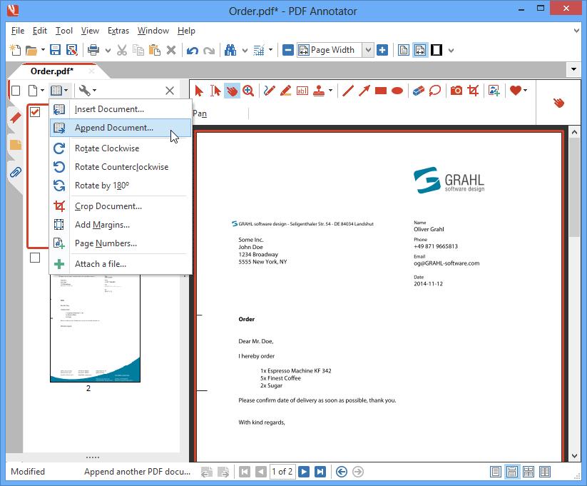 Ajouter des pages & et des documents: Combinez plusieurs documents PDF en un seul. Insérez des documents PDF complets à n'importe quel endroit de votre document courant afin de les fusionner. Ajoutez un second document afin de combiner les deux.