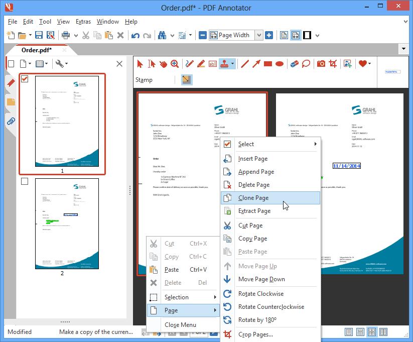 Cloner des pages: Clonez une page d'un simple clic afin de garder une copie de la page d'origine, tout en annotant la copie clonée.