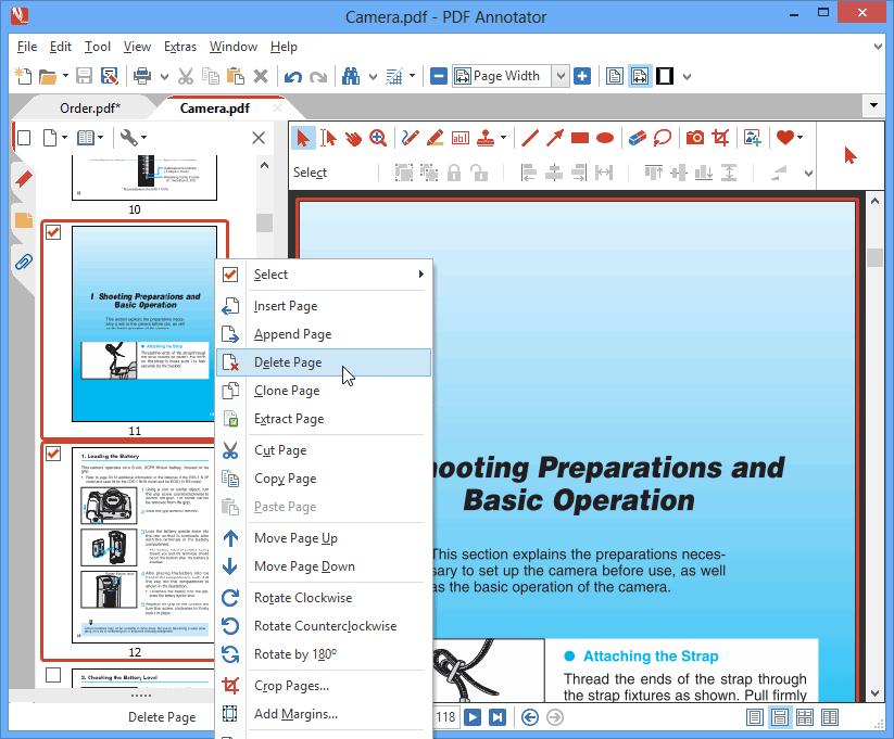 Supprimer une pages: Supprimez des pages afin de les retirer définitivement de vos documents. Supprimez les pages individuellement ou plusieurs simultanément.