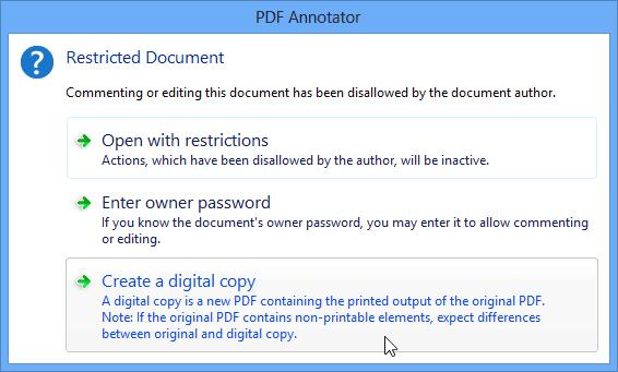 Créer des copies numériques de PDF sécurisés: Vous avez un document PDF qui n'autorise pas l'édition ou les commentaires, exigeant un mot de passe d'auteur ? Convertissez le PDF protégé par un mot de passe en un nouveau PDF éditable à l'aide de la fonction Copie numérique intégrée.