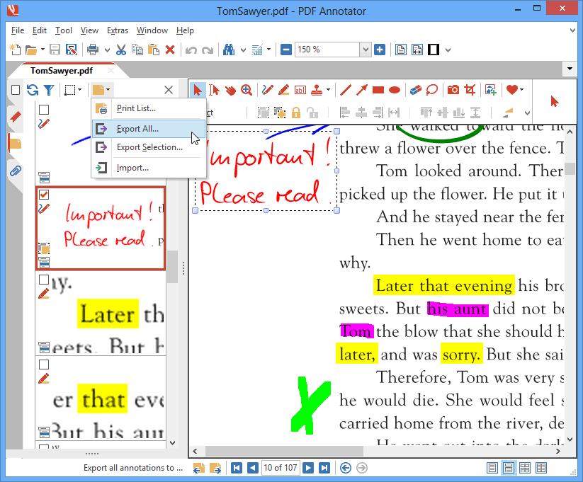 Importer & exporter des annotations: Vous voulez déplacer des annotations existantes d'une version d'un document vers une plus récente ? Il vous suffit d'exporter toutes vos annotations et de les importer dans la nouvelle version.