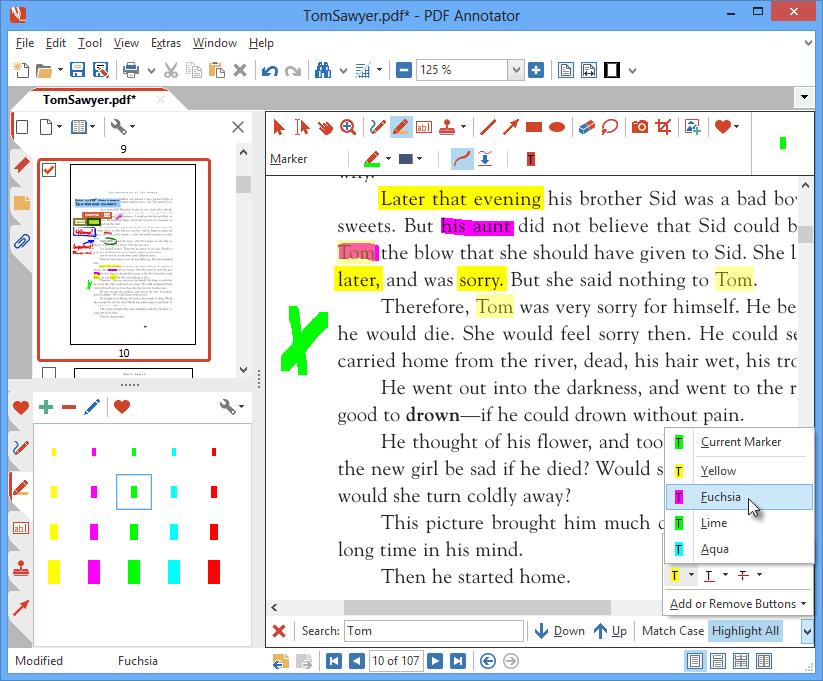 Mise en relief d'un contenu avec le marqueur de texte: Utilisez le surligneur pour faire ressortir les passages importants. Faites votre choix parmi un nombre illimité de couleurs et de largeurs de ligne. Recherchez du texte dans votre PDF et faites ressortir tous les résultats de recherche d'un seul clic.