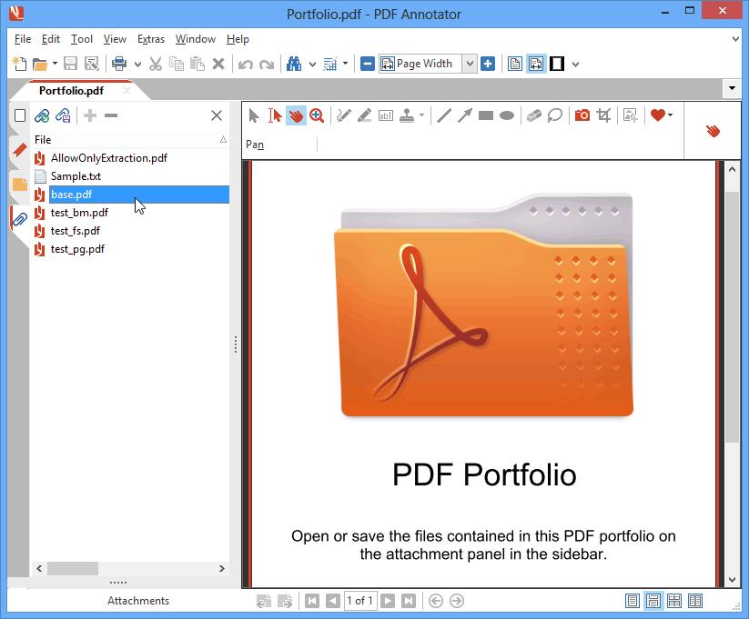 Portfolios PDF & pièces jointes: Les portfolios PDF rassemblent plusieurs documents PDF, qui peuvent être ouverts et affichés avec PDF Annotator. Ajoutez des pièces jointes à vos documents PDF ou enregistrez les pièces jointes existantes pour les ouvrir et les éditer dans leurs applications cible.