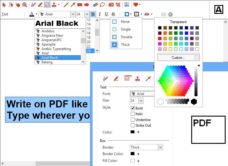 Outil Texte: Tous les outils peuvent être adaptés de manière détaillée à l'aide de différents styles, couleurs, cadres, écritures, largeurs de traits, etc.