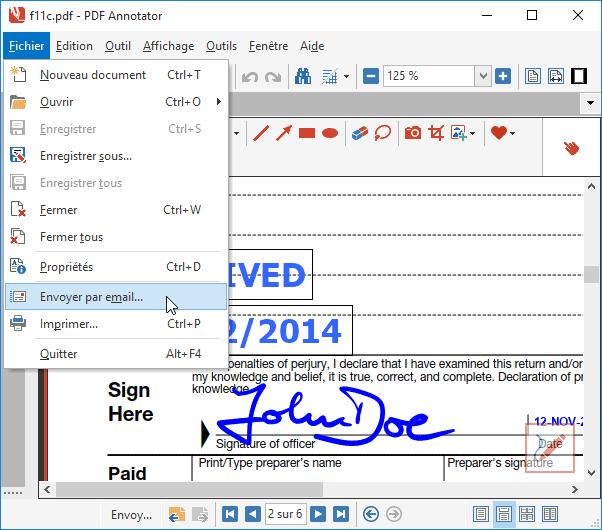 Envoyer comme pièce jointe: Envoyer votre document balisé comme pièce jointe avec un seul clic.